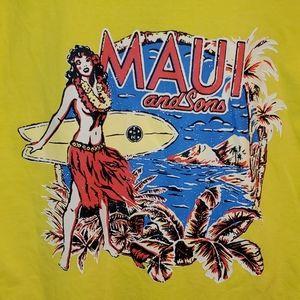 Maui & Sons Yellow Pinup Hula Surf T-shirt